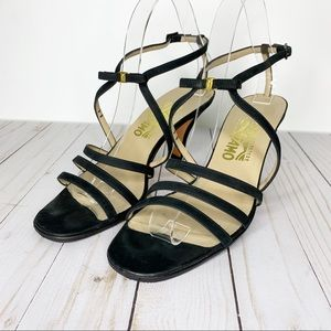 SALVATORE FERRAGAMO  Black Ankle Strappy Heels 9